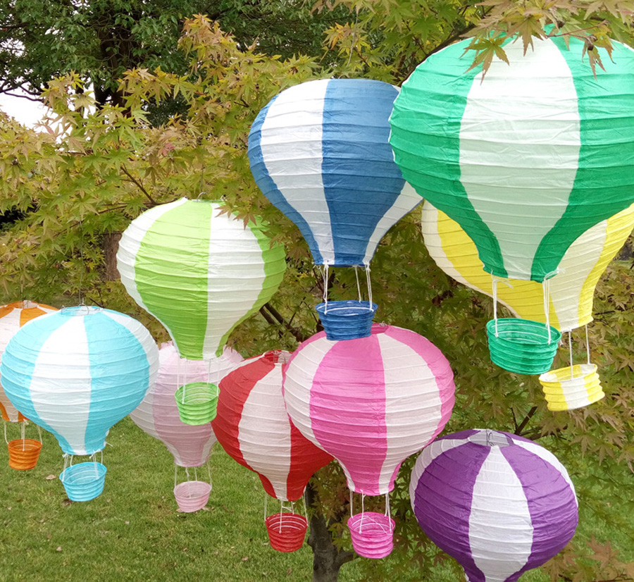 10pcs/lot 12 inch(30cm*48cm) Multicolor Hot Air Balloon Paper Lantern Wishing La
