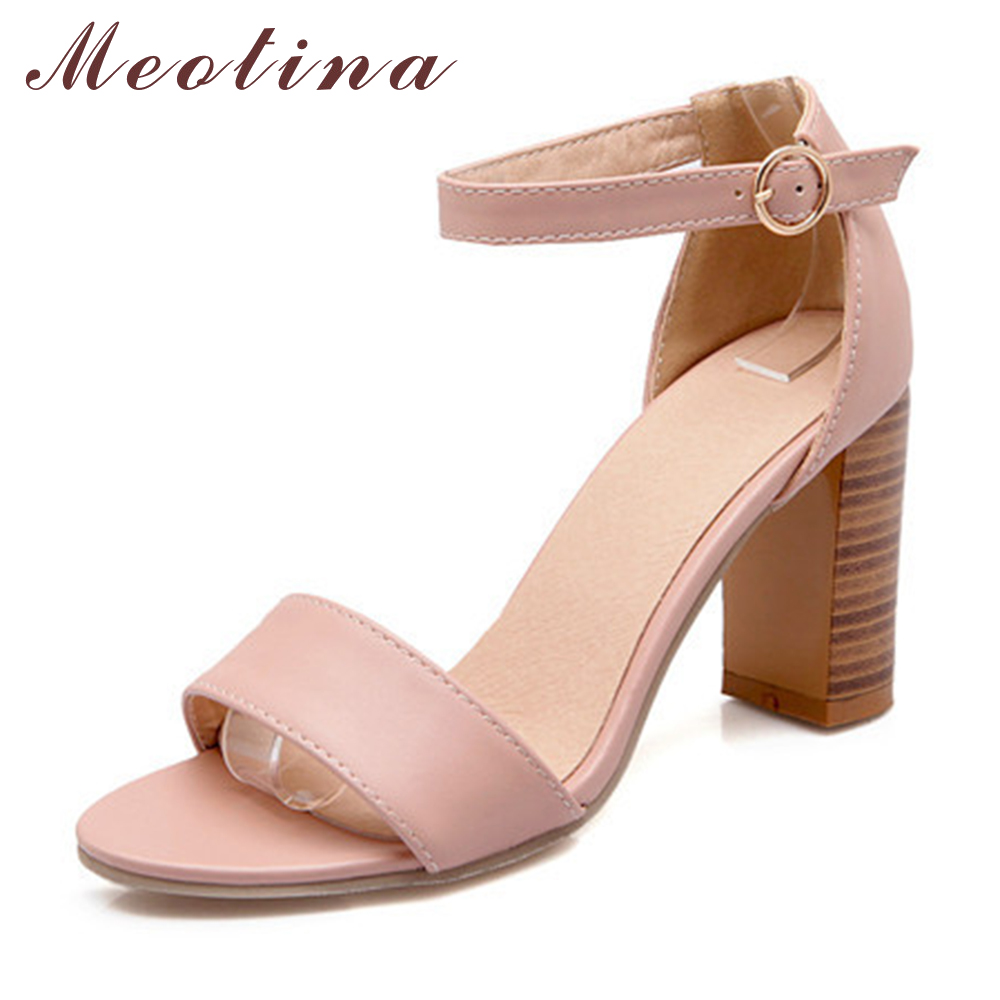 Sandals shoes summer - Meotina Fashion Shoes Women Sandals Summer Open Toe Ankle Strap Chunky High Heels White Pink Ladies