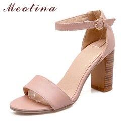 Meotina chaussures femmes sandales été 2018 bout ouvert bride à la cheville épais talons hauts sandales blanc rose dames chaussures grande taille 9 10 43