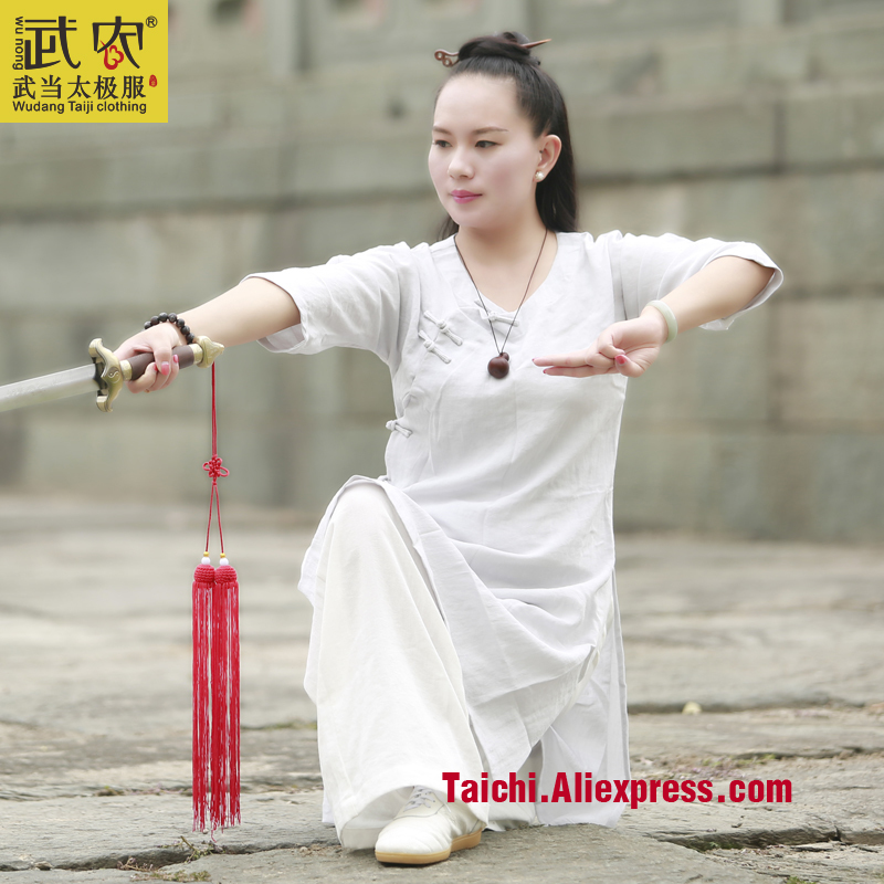 female Taiji martial arts clothing  Handmade  Linen Tai Chi Uniform Wushu Kung Fu Training Suit  Chinese Stly  jacket+pant painted handmade linen tai chi uniform taijiquan female clothing summer short sleeved wushu kung fu jacket pants