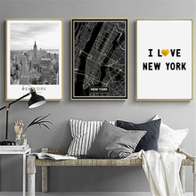 HAOCHU Modern New York City Architecture Landscape Map Black And White Personality Home Hotel Decoration Painting Wall Poster