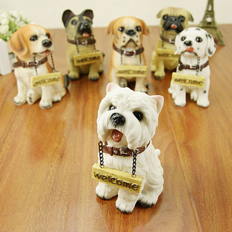 Hot Sales! 1 PC Random Home Decoration Resin Crafts Welcome Dogs Figurines Craft Ornaments Lovely Dogs