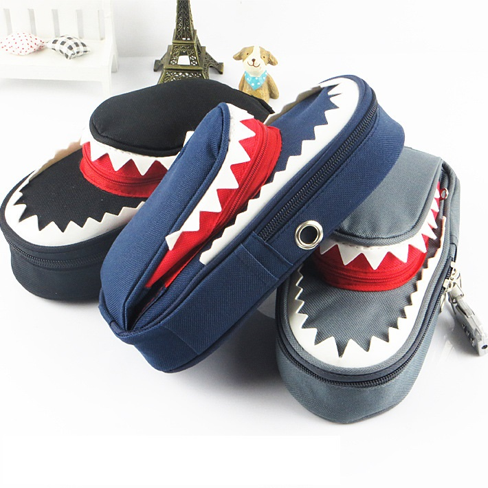 Creative Shark Large Capacity Canvas Pencil Bag With Code Lock Kids Pencil Case For Boys Zipper Student Pen Box