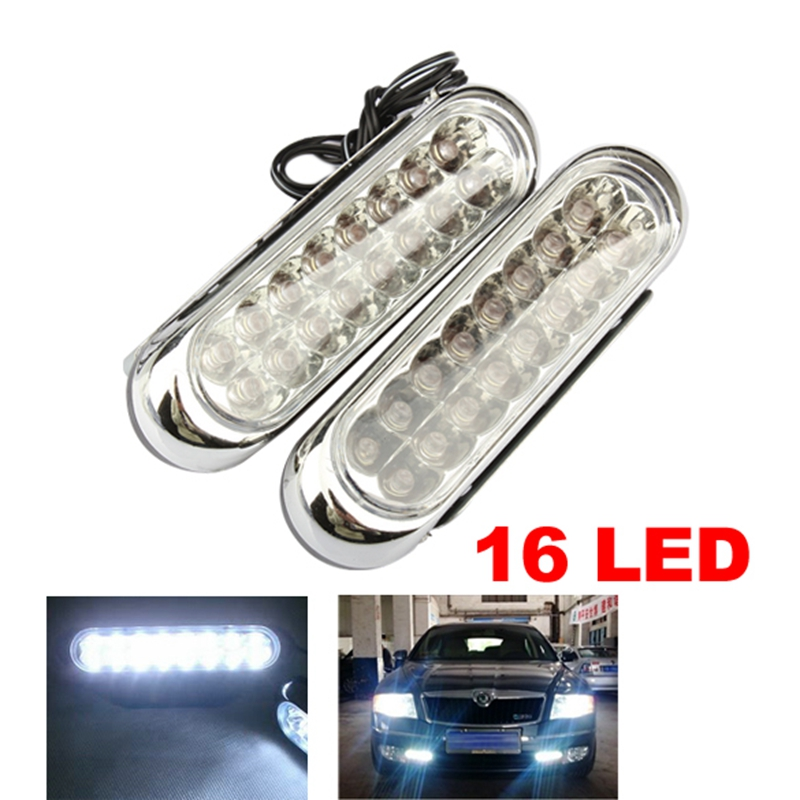цена на 2Pcs Universal Car DRL Fog Lamp Bar Automobiles Light-emitting Diode Daytime Running Light Truck 16 LED Rear Front Warning Light