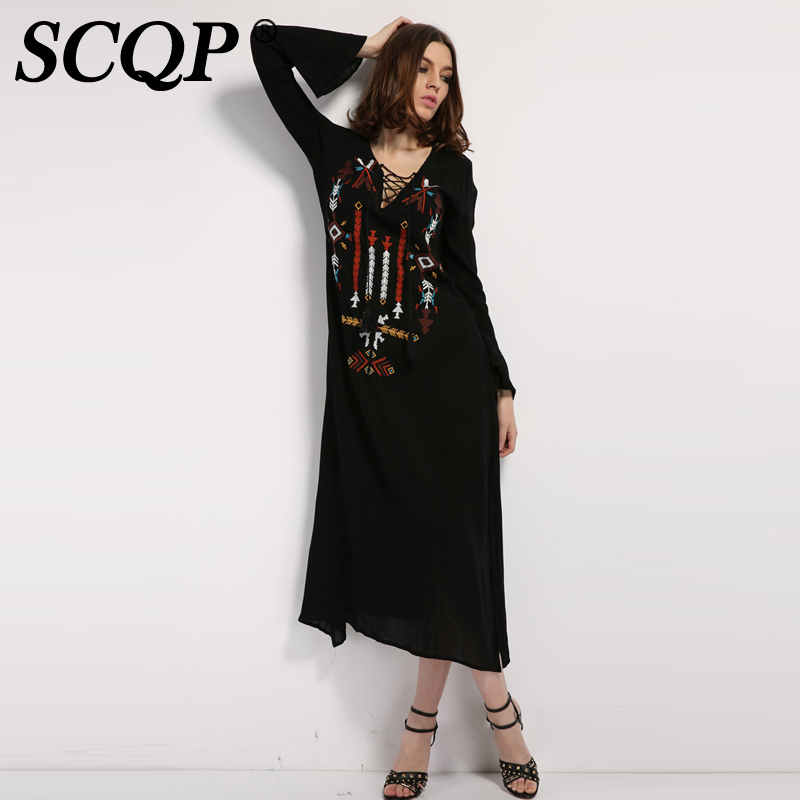 302343e2c6dc SCQP Solid Embroidery Chest Straps Women Dresses V Neck Long Sleeve Side  Split Maxi Dress Vintage Fashion Slim Sexy 2017 Dresses-in Dresses from  Women's ...