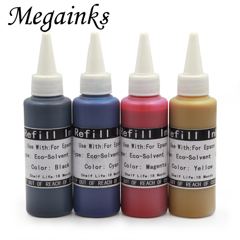 6 Pcs 100ML Eco Solvent Ink for <font><b>Epson</b></font> 1390 1400 1410 1430 L366 L310 L350 L355 <font><b>L800</b></font> L801 L805 L810 L850 L1300 L1400 L1800 <font><b>Printer</b></font> image
