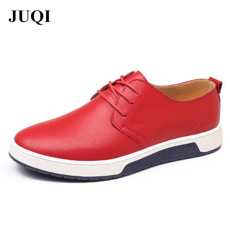 JUQI Luxury Brand New Men Flats Shoes Men Casual Leather Shoes Fashion Trendy Breathable Shoes Flats Big Size 37-48 men luxury brand new genuine leather shoes fashion big size 39 47 male breathable soft driving loafer flats z768 tenis masculino
