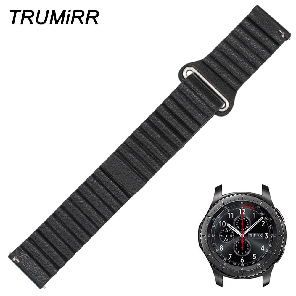 22mm Genuine Leather Watch Band Magnetic Strap for Samsung Gear S3 Classic Frontier Garmin Fenix Chronos Quick Release Bracelet garmin fenix chronos с металлическим браслетом