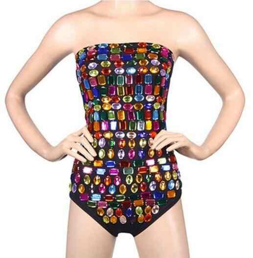 Night club bar zangeres stage kostuum Ds kostuum Nieuwe DJ kraag dans kostuum Kleurrijke diamant jumpsuit