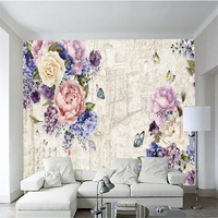 3d Custom Photo Wallpaper Wall Murals Wall Stickers Retro Art Hand Painted Floral Butterfly Backdrop Wall