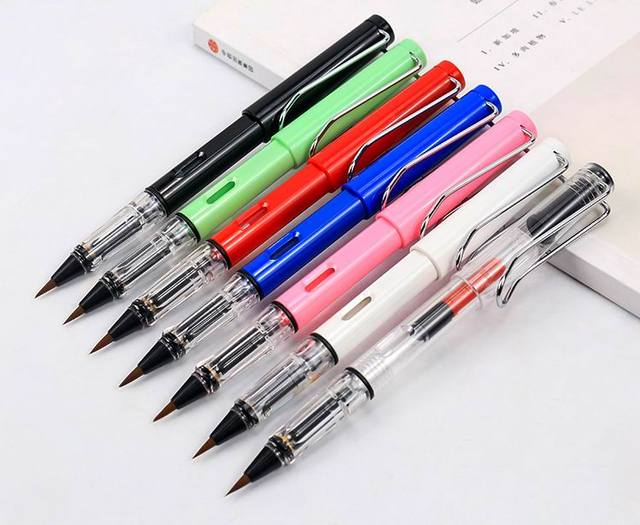 NEW plastic Transparent color fountain style Weasel Hair Calligraphy small regular script Brush Pen 1