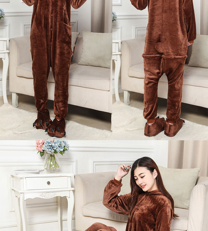 2Kigurumi Brown Bear Onesie Slippers Women Men Adult Animal Costume Cartoon Pajama Funny Festival Party Fancy Suit  (6)