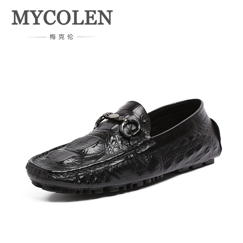 MYCOLEN High Quality Genuine Leather Shoes Men Flats Fashion Loafers Mens Flats Slip On Driving Shoes Male Brand Shoes branded men s penny loafes casual men s full grain leather emboss crocodile boat shoes slip on breathable moccasin driving shoes