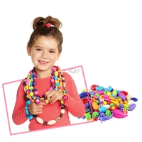 2017 Colorful Cartoon DIY Bracelet Necklace Acrylic Bead Kit Girls Jewelry Handmade Toys For Children MAY3
