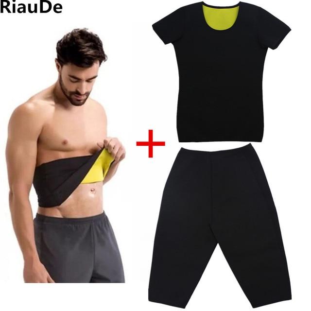 RiauDe Neoprene Sweat Shaper Pants&Belt &Short Sleeve shaperwear Super Stretch control Slimming Pants&T-shirt&Shapers belts Set