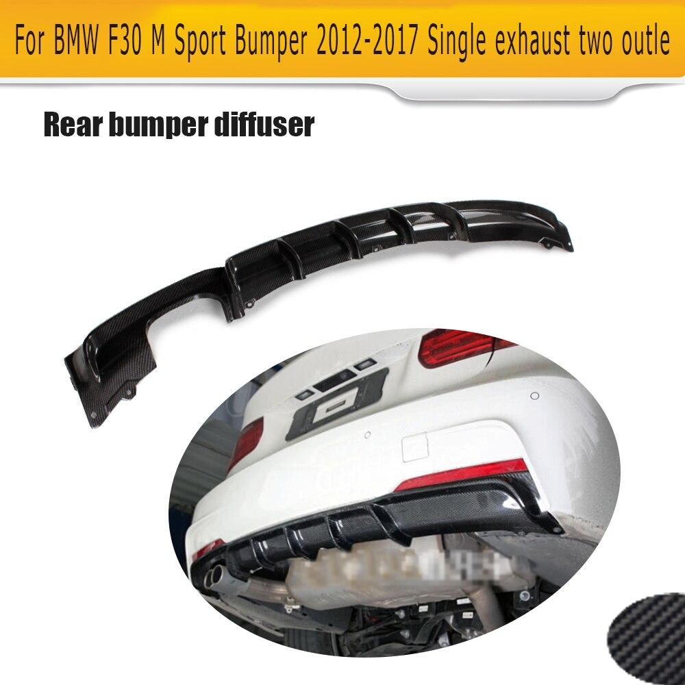 Car Rear Bumper lip Diffuser for BMW 3 Series F30 M Sport Bumper 2012-2017 Carbon Fiber Single exhaust two outle DiffuserCar Rear Bumper lip Diffuser for BMW 3 Series F30 M Sport Bumper 2012-2017 Carbon Fiber Single exhaust two outle Diffuser