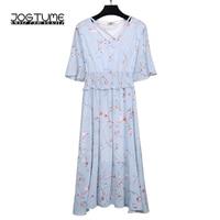 Summer Elegant Woman Plus Size Pinup Dresses Half Sleeve Fashion V neck Floral Print Chiffon Party Long Dress Feminine 3XL 4XL