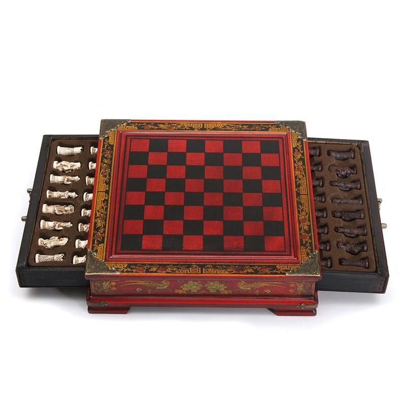 Qualité supérieure 32 pcs/ensemble Résine Échecs Chinois Avec Café Table En Bois Vintage Collection Cadeau Divertissement Jeu de société