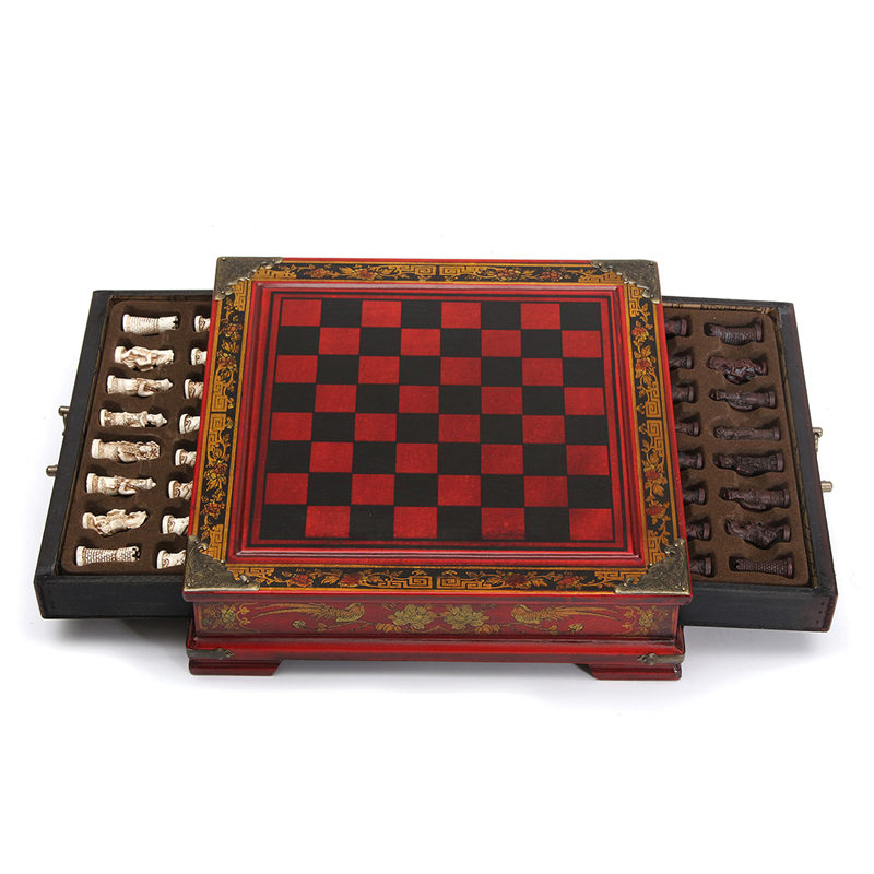 цена на Top Quality 32Pcs/Set Resin Chinese Chess With Coffee Wooden Table Vintage Collectibles Gift Entertainment Board Game
