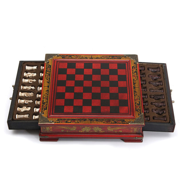 Top Quality 32Pcs/Set Resin Chinese Chess With Coffee Wooden Table Vintage  Collectibles Gift Entertainment