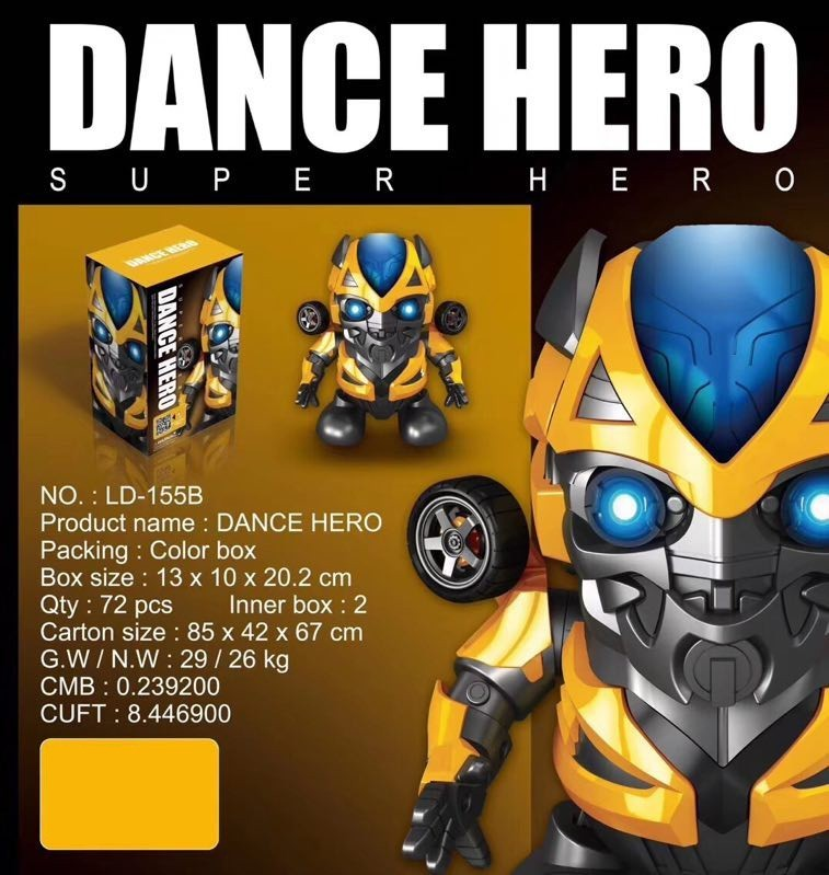 Can Dance Led Transformers Bumblebee Hero Music Marvel Avengers Spiderman Flashlight Light Sound Music Robot Toy Gift image