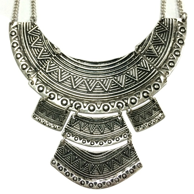 Egyptian Metal Ethnic Statement Necklace
