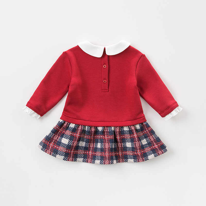 DBZ8926 dave bella เด็กทารกลายสก๊อตแขนยาวฤดูใบไม้ร่วงชุดเด็กหญิงชุดเด็กวันเกิด party ชุดบูติก