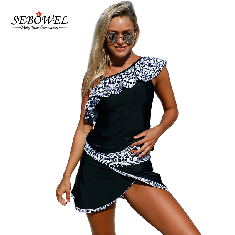 aee2b07c770 SEBOWEL 2017 Brazilian Sexy Women s One Shoulder Tankini Swimsuit Plus size Ruffle  Two Pieces Bikin Swimwear Bathing Suit 3XL