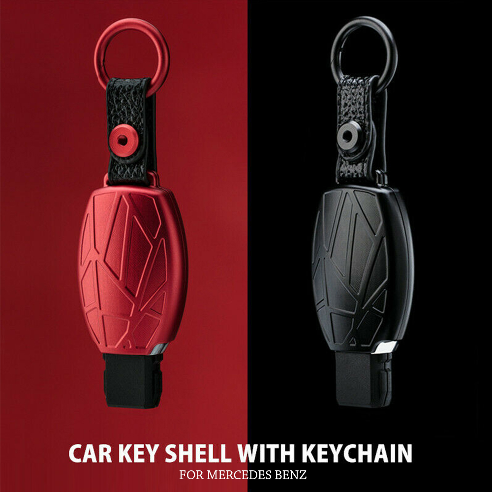 Aluminum Leather Key Cover Case Shell For Mercedes Benz CLK C180 E200 W203 W204 W211 For