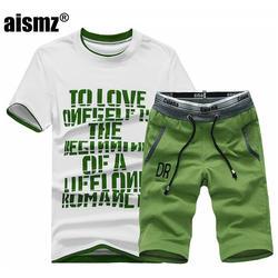 Aismz Для мужчин s Фитнес спортивный костюм летний комплект Повседневное спортивных Fashio Для мужчин шорты комплекты рубашка с короткими
