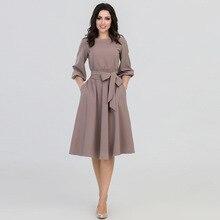 86b499741b1e Женское осеннее платье с круглым вырезом 2018 летнее женское элегантное  винтажное богемное пляжное платье повседневные свободные