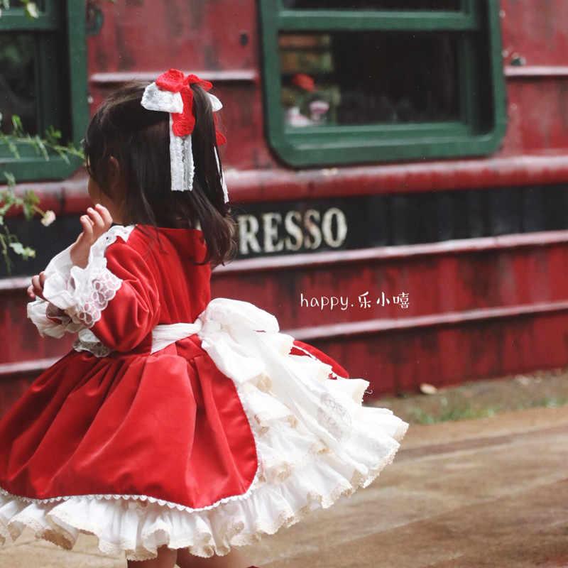 6899bb5524dff Cekcya Spain Dress Girls Royal Costumes Kids Princess Wedding Birthday  Dresses Party Lace Robe Fille Baby Girl Clothing 4PCS Set