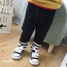цена на 2019 baby infant newborn baby child boy girl solid color comfortable harem pants toddler pants striped leggings baby bottoms