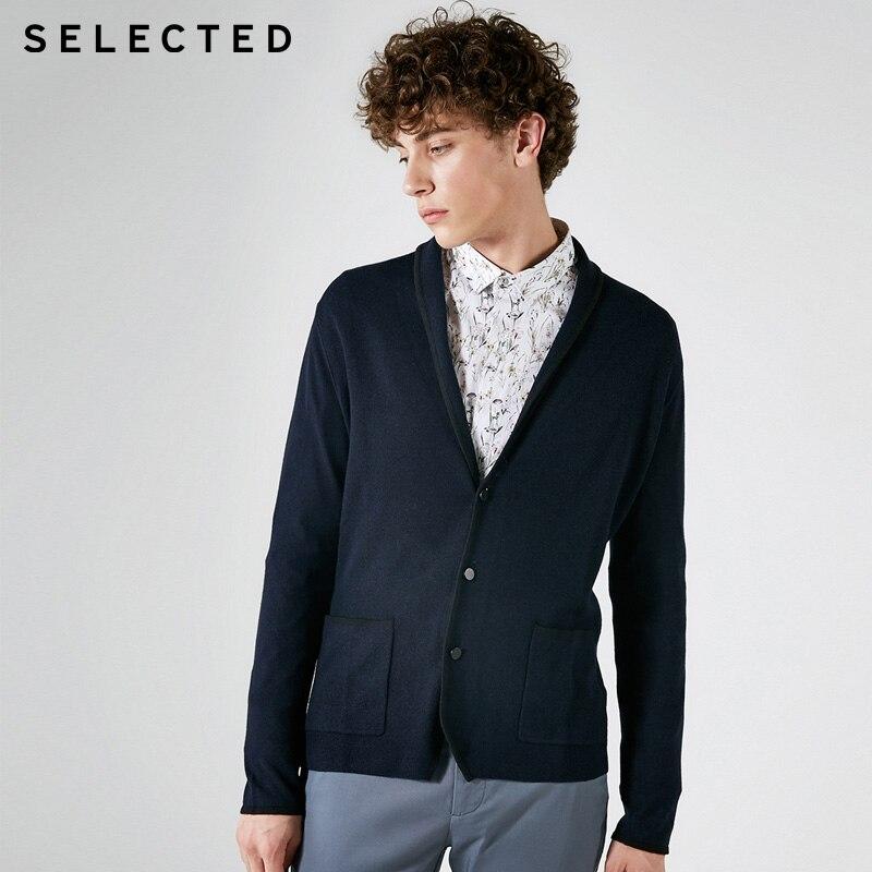 SELECTED wool men's long sleeve knit coat| 417324513