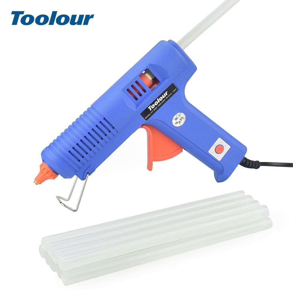 цена на Toolour EU 100V-240V 150W Industrial Hot Melt Glue Gun with 11mm Glue Sticks Smart Temperature Control Thermal Glue Gun DIY Tool