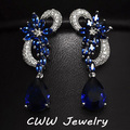 CWW Marca Branca Banhado A Ouro Brincos de Luxo Zircão Cúbico Pedras Gota Longo Azul Royal Para As Mulheres CZ234