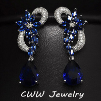 CWW Brand White Gold Plated Luxury Cubic Zircon Drop Stones Long Royal Blue Earrings For Women