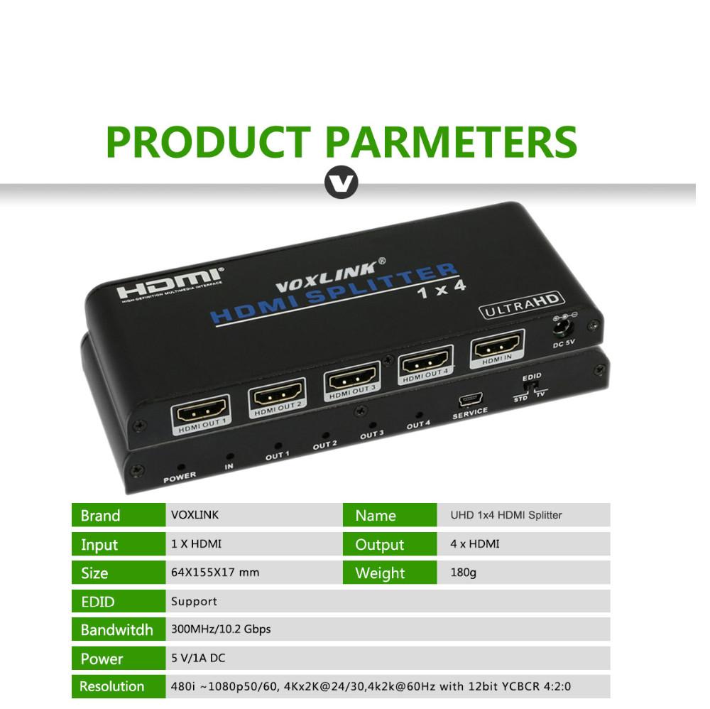 Buy Voxlink 4k2k Uhd Hdmi Splitter 1x4 1 Input 4 Wiring Diagram Connection 2