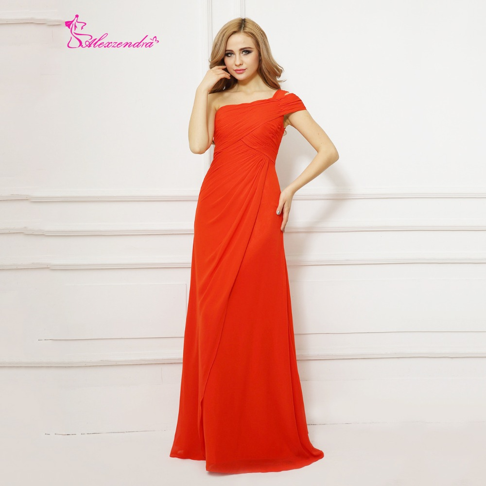 Alexzendra One Shoulder Chiffon Red Long   Prom     Dresses   Customize Simple Evening   Dress   Party   Dresses   Plus Size