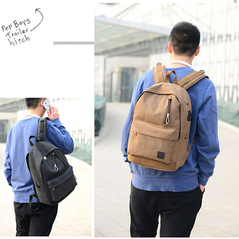 Student Backpack USB Charging Design School Canvas Notebook Fashion Business Backpack Headphone Hole design Backpack in Backpacks from Luggage Bags