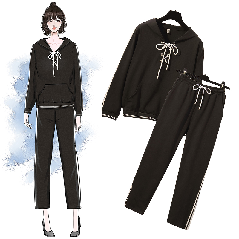 YICIYA black plus size big 5xl women 2 piece set outfit tracksuit hoodies top and pants suits sportswear co ord set clothing in Women 39 s Sets from Women 39 s Clothing