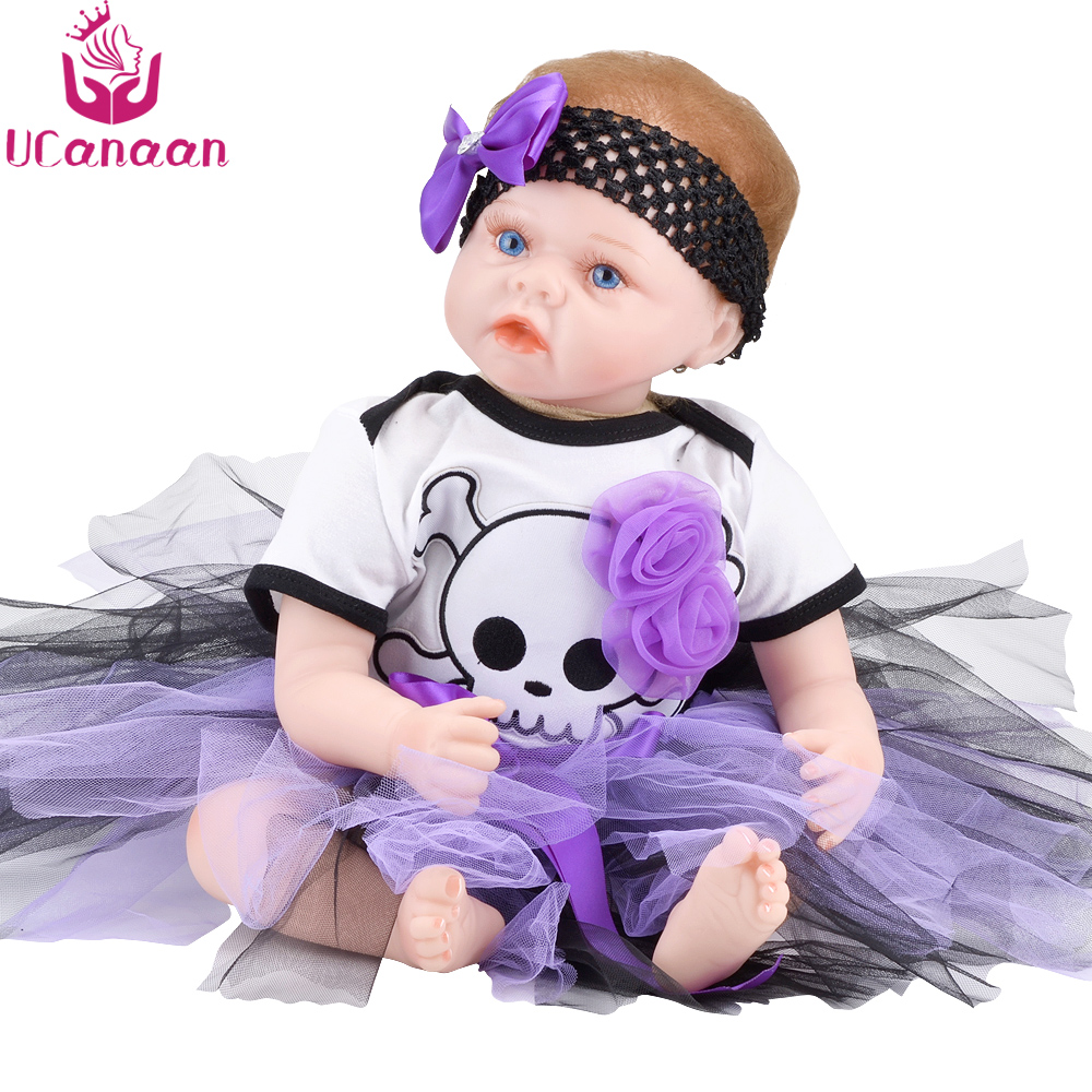 UCanaan 22'' Cloth Body Reborn Doll 55CM Silicone New Born Dolls For Girls Baby Alive Realistic Toys For Children Birthday Gifts ucanaan 55cm hair rooted cloth body reborn doll soft silicone brown eyes toys for girls baby alive new born kawaii kids toys