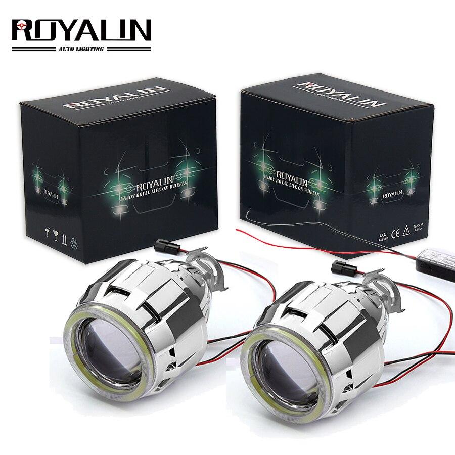 ROYALIN Car Motorcycle DRL LED Headlights Lens H1 Bi Xenon Lights Projector H4 H7 COB Angel Eyes Headlamp Running Lamp Retrofit