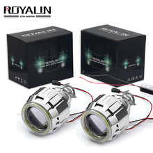 ROYALIN Car Motorcycle DRL LED Headlights Lens H1 Bi Xenon Lights Projector H4 H7 COB Angel Eyes Headlamp Running Lamp Retrofit