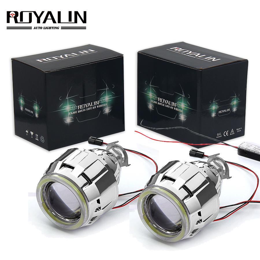 ROYALIN Car Motorcycle DRL <font><b>LED</b></font> <font><b>Headlights</b></font> Lens H1 Bi Xenon Lights Projector H4 H7 COB Angel Eyes Headlamp Running Lamp Retrofit image