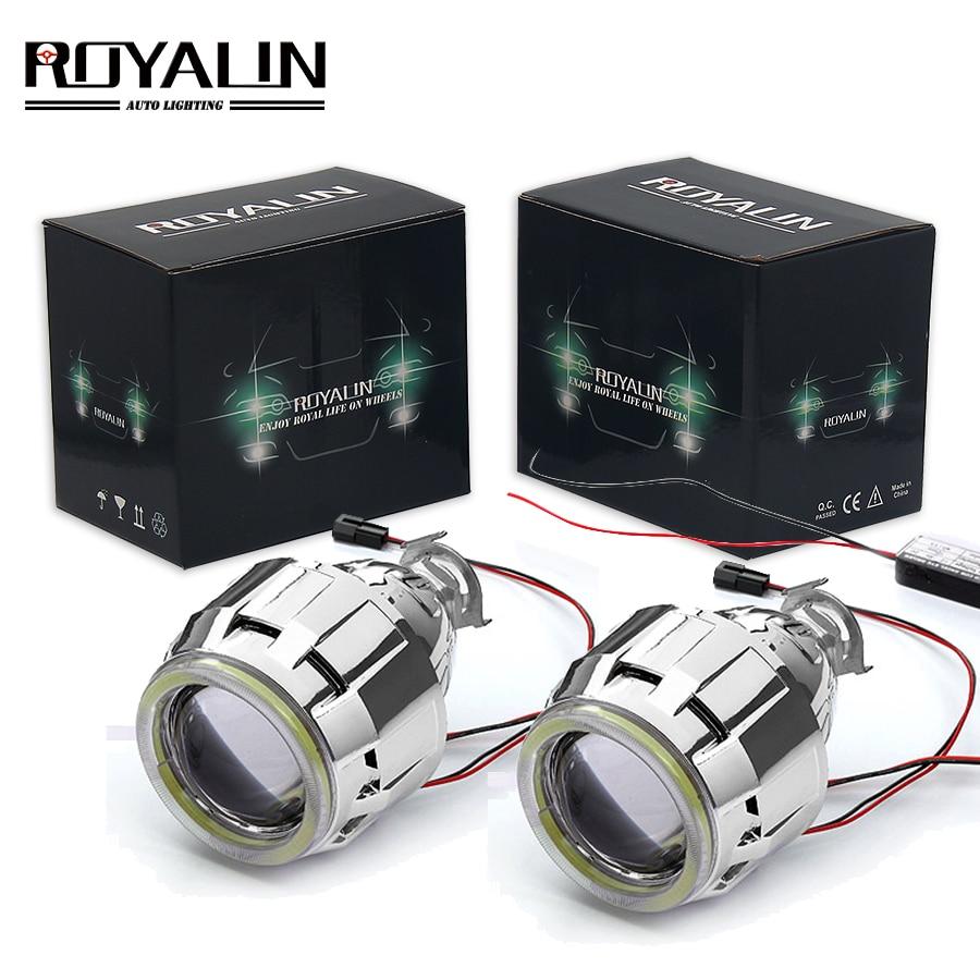ROYALIN voiture moto DRL LED phares lentille H1 Bi xénon lumières projecteur H4 H7 COB Angel Eyes phare lampe de course rénovation