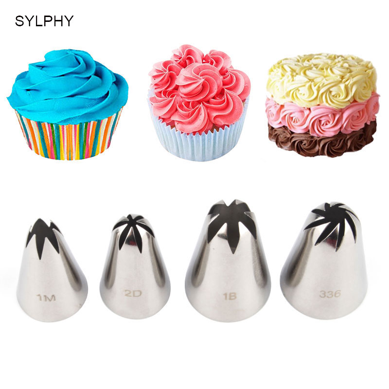4st Cream Tips Set Stainless Steel Piping Munstycke Pastry Tool Cake Cream Decoration Cupcake