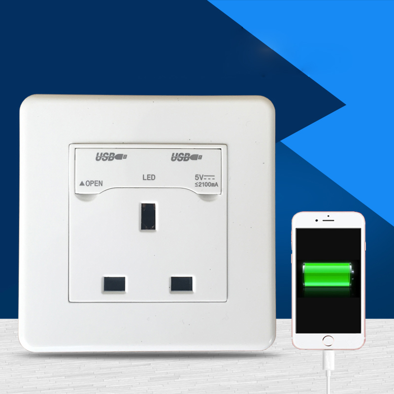 86 Type British Three Hole Wall Socket Power Socket Panel With Two Mobile Phone Charging USB 13A AC 110~250V british mk british unit power supply socket metal 13a power outlet british standard unit socket