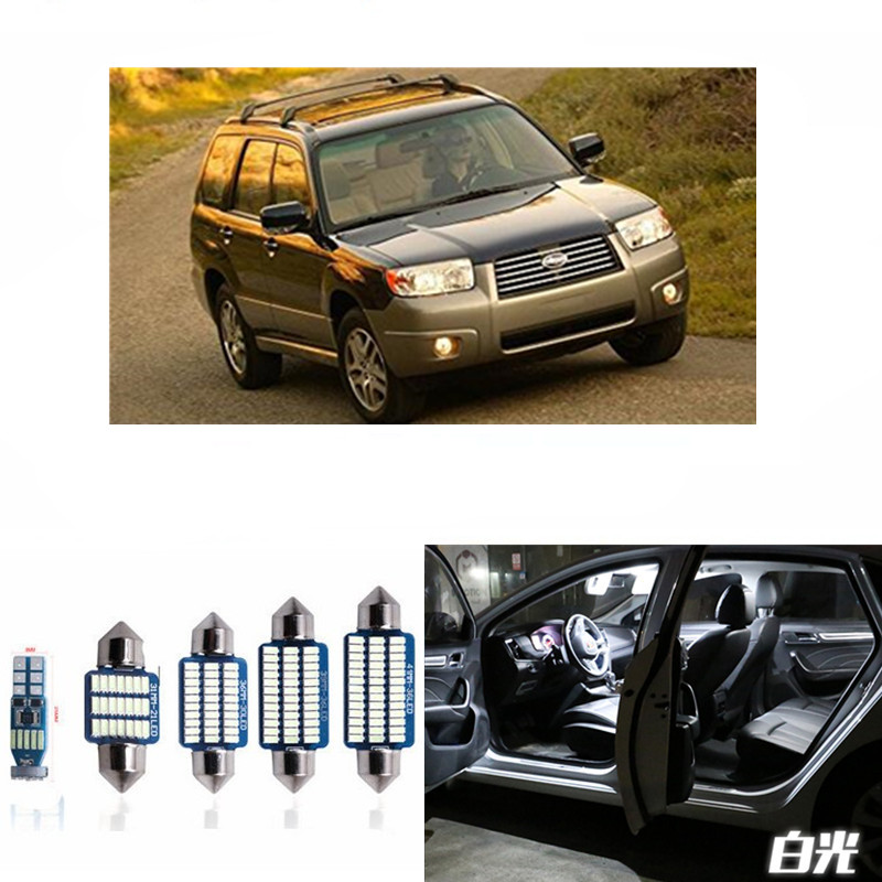 8pcs Car LED Light Bulbs Interior Package Kit For 2003-2008 Subaru Forester Map Dome Trunk License Plate Lamp White ice blue 9pcs canbus error free white car led light bulbs interior package kit for 2002 2005 mini cooper map dome license plate lamp