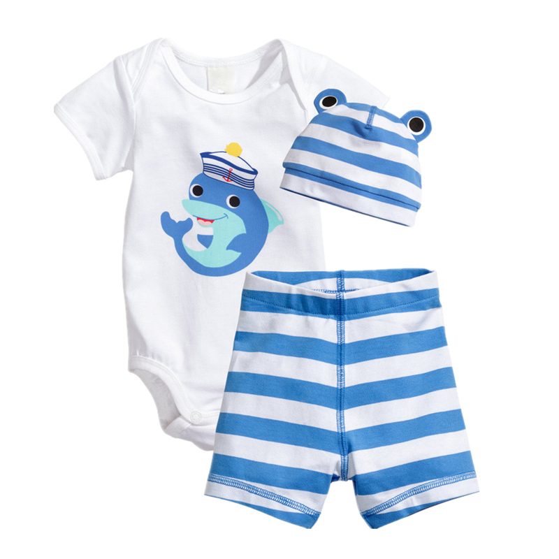 2017 Time-limited Newborn Baby Clothing Summer Boys Clothes Cartoon Short Sleeve Cotton 3pcs Rompers Infant Costumes Girls Set summer baby romper boys clothing ropa bebe cotton jumpsuits short sleeve newborn rompers baby girls boys clothes